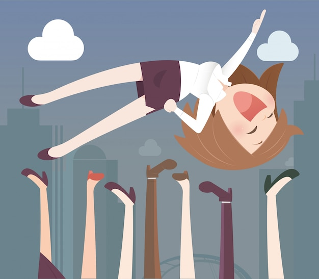 Business woman being thrown in the air Premium Vector