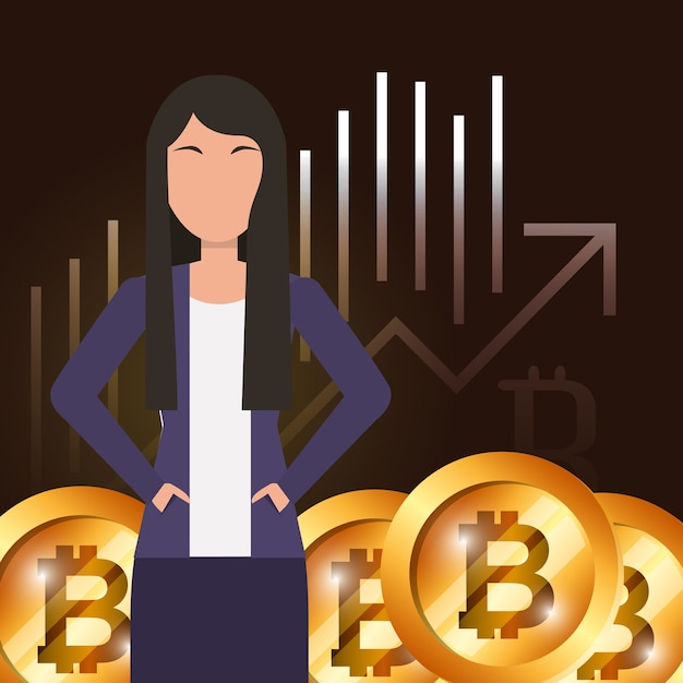 Business woman bitcoin market e-business vector illustration Premium Vector