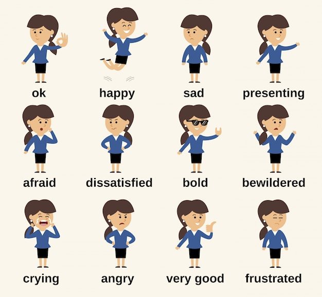 Business woman cartoon character happy and sad emotions set isolated vector illustration Free Vector