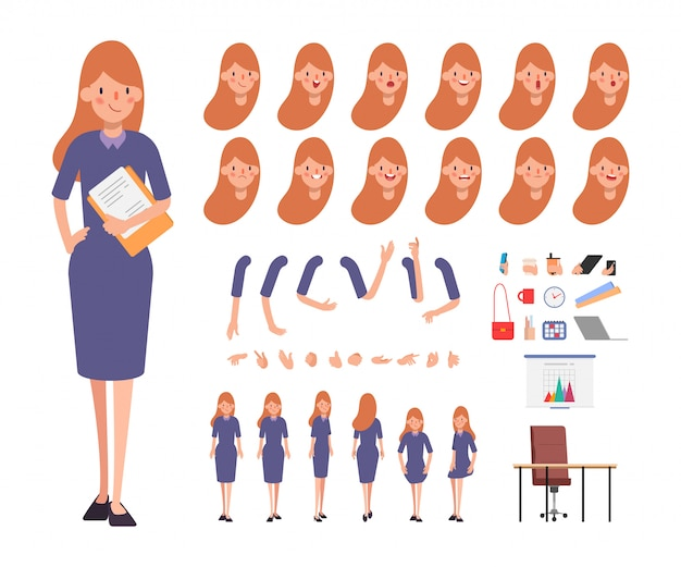 Business woman character for animation face emotion mouth. Premium Vector