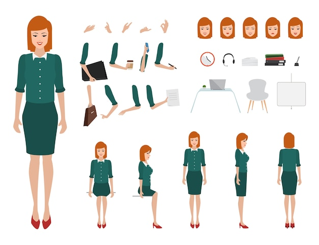 Business woman character constructor for different poses. Premium Vector