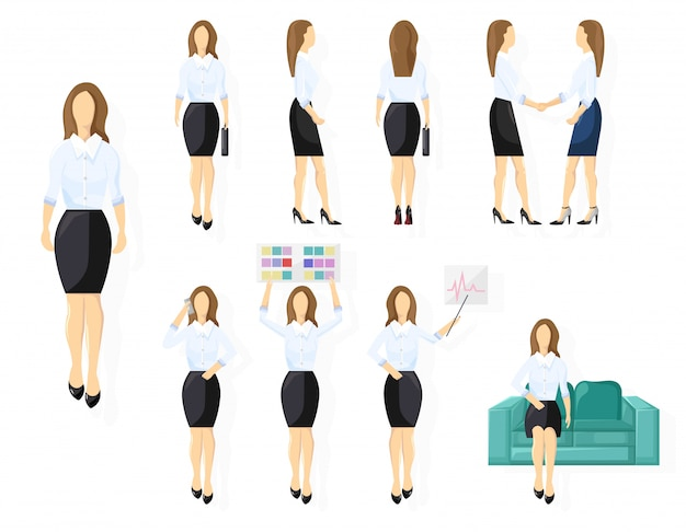 Business woman character design set. woman with various views, poses and gestures. flat style isolated person Premium Vector