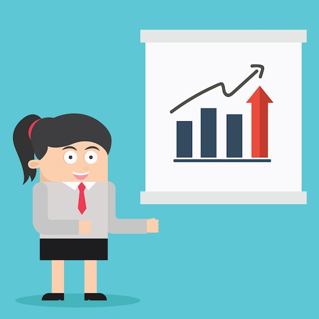 Character Design Presentation : Business woman character presentation cartoon vector