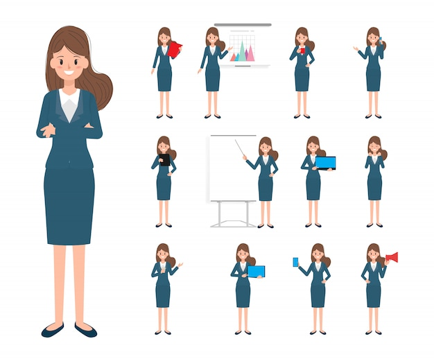 Business woman character in work Premium Vector