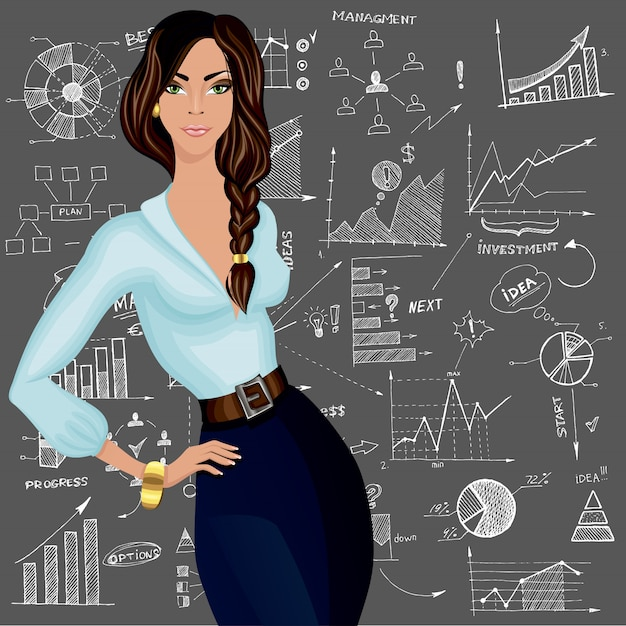 Business woman character Free Vector