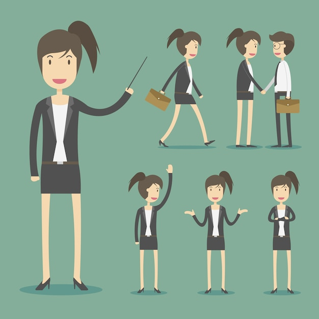 Business woman characters Free Vector