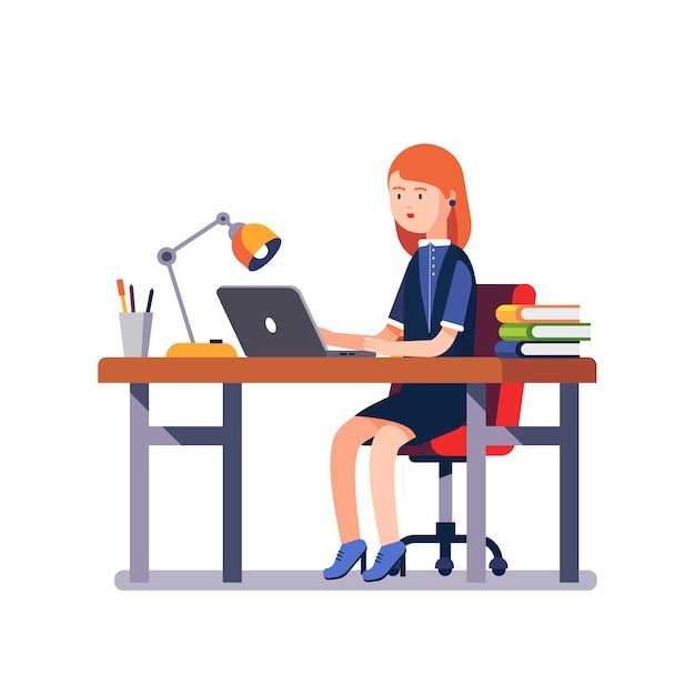 Business woman or a clerk working at office desk Free Vector