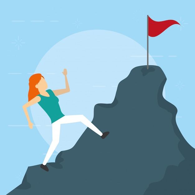 Business woman climbing mountain flag, flat style Free Vector