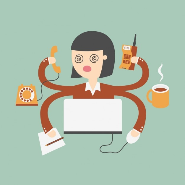 Business woman doing different tasks at the same time Free Vector
