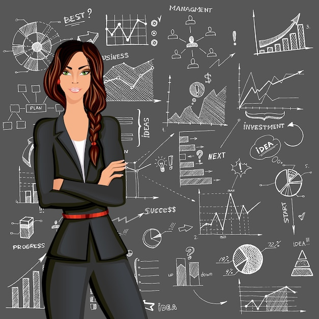 Business woman doodle background Free Vector