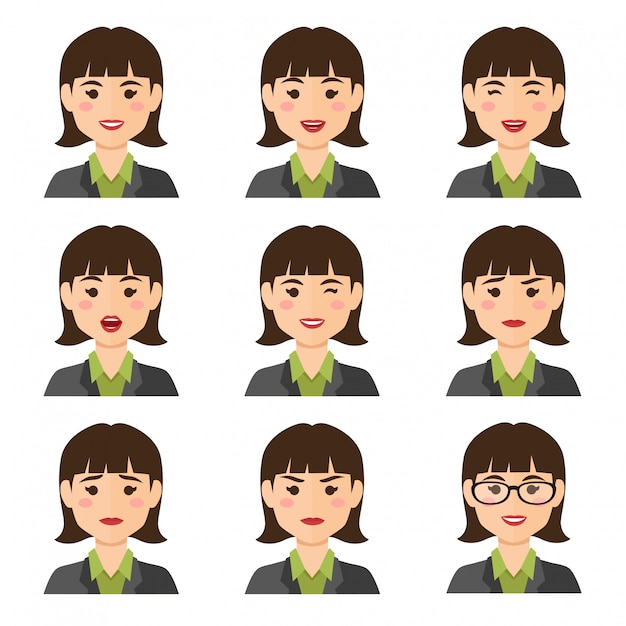 Business woman expresions avatar Premium Vector
