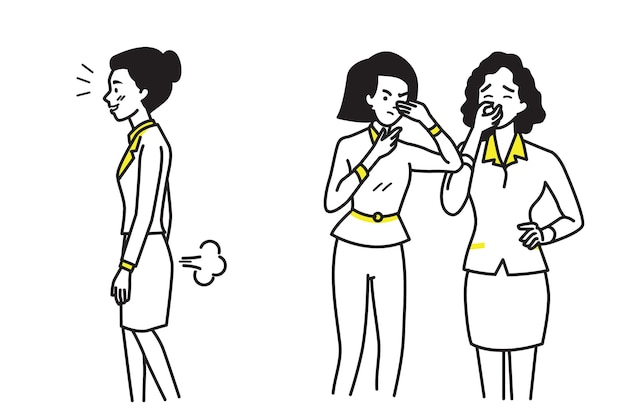Business woman farting make a bad smell and stinks. Premium Vector