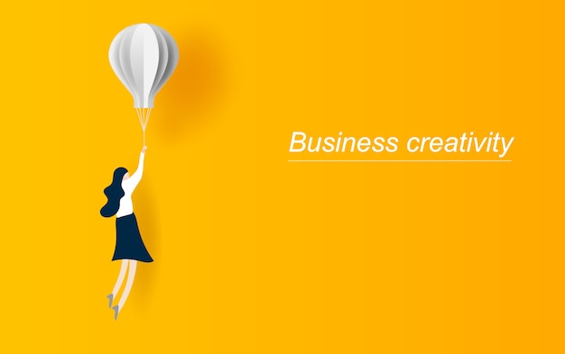 Business woman flying with balloon. Premium Vector