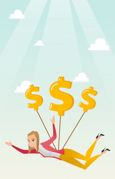 Business woman flying with dollar signs. Premium Vector