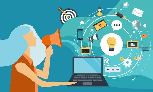 Business woman has ideas to achieve a goal at work Premium Vector