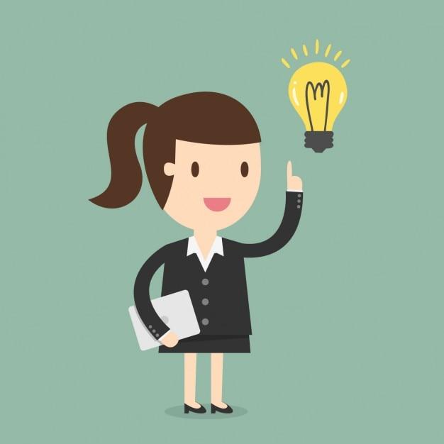 Business woman having an idea Free Vector