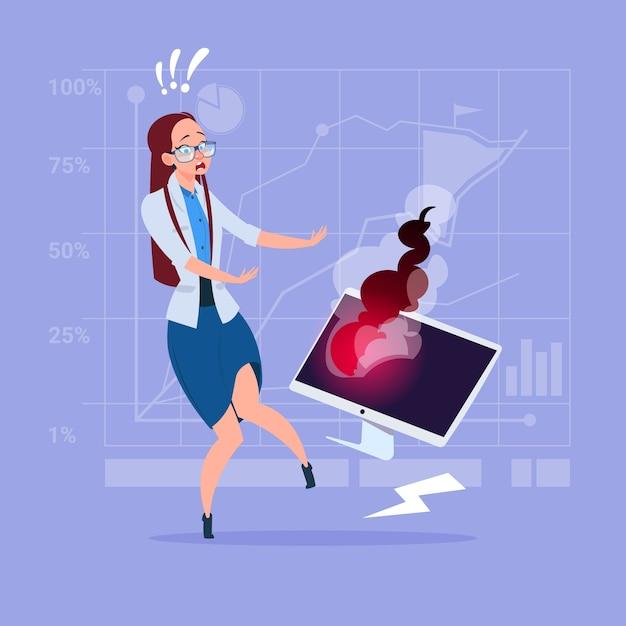 Business woman having problem working with broken computer Premium Vector