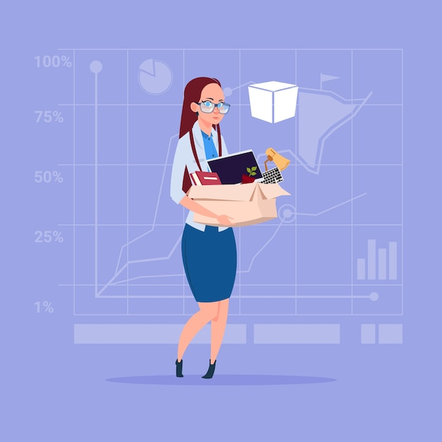Business woman hold box with office stuff Premium Vector