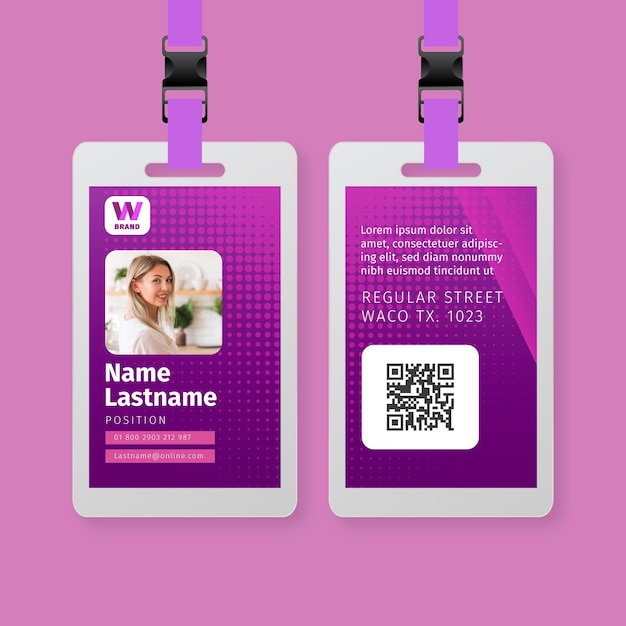 Business woman id card template Premium Vector
