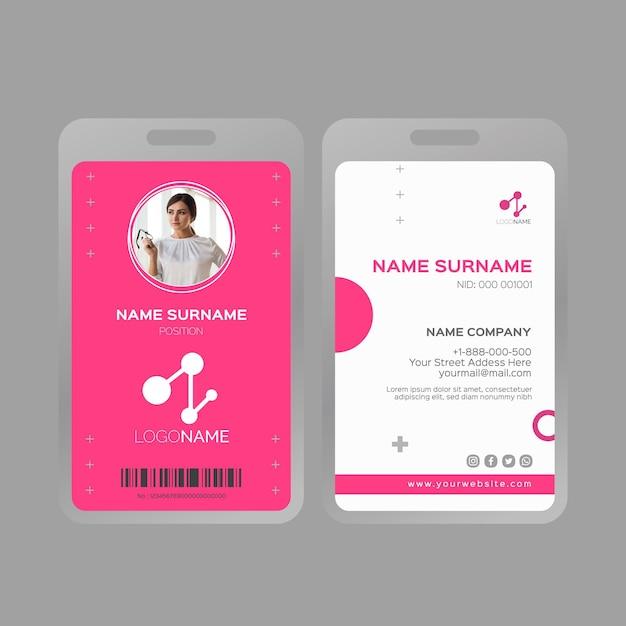 Modello di carta d'identità donna d'affari Vettore gratuito