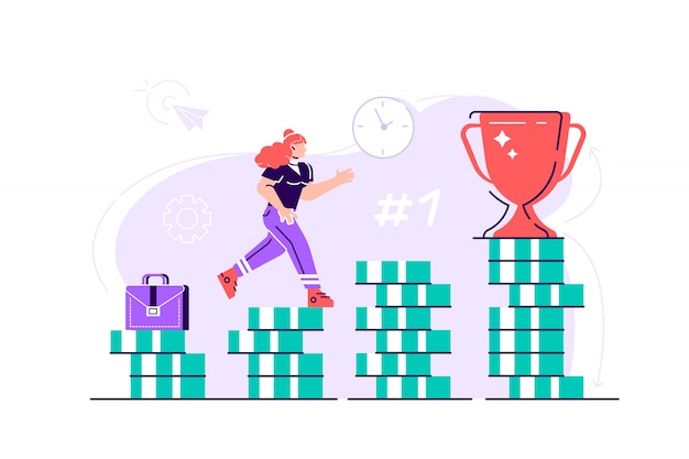 Business woman is climbing stairs from stacks of coins toward his financial goal. personal investment and pension savings concept. flat style modern design  illustration for web page, cards Premium Vector