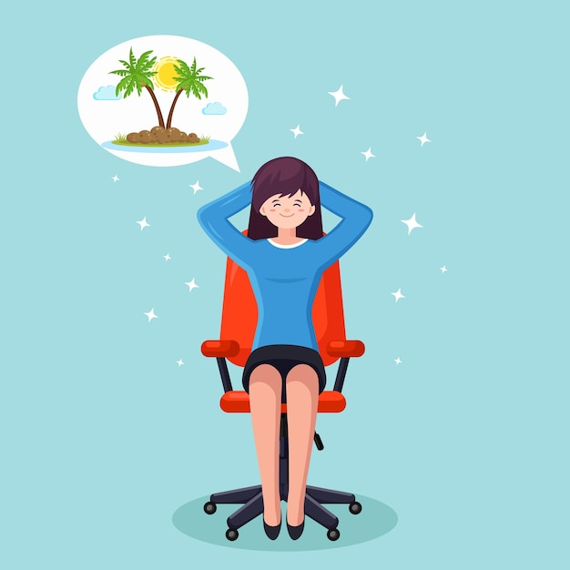 ビジネスウーマンはリラックスして、オフィスの椅子で熱帯の島での休暇を夢見ています Premiumベクター