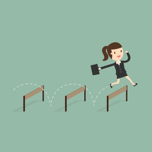 Business woman jumping obstacles