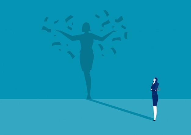 Business woman looking her shadow under money rain Premium Vector