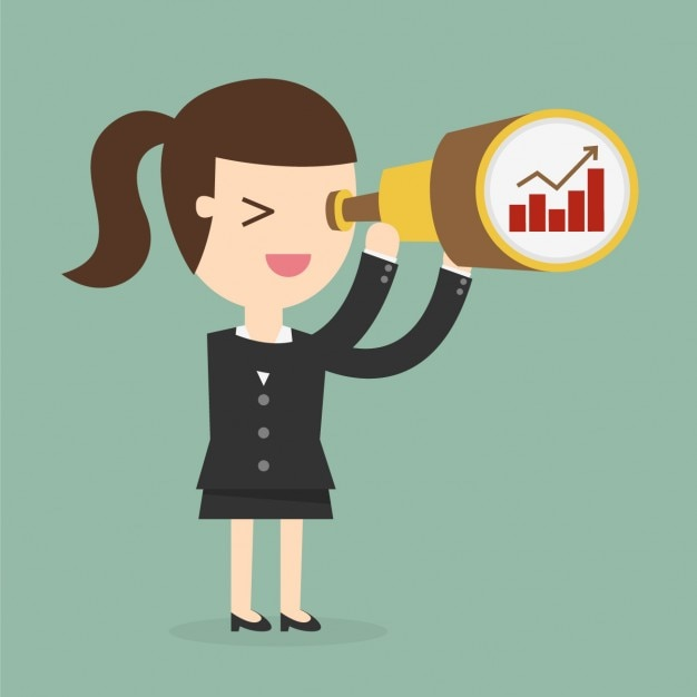 Business woman looking through a telescope Vector | Free ...