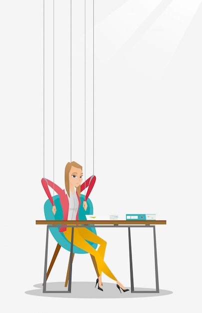 Business woman marionette on ropes working. Premium Vector