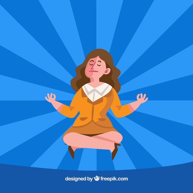 Business woman meditating Free Vector