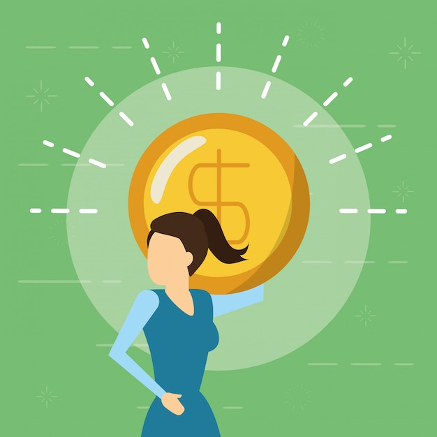 Business woman and money coin, flat style Free Vector