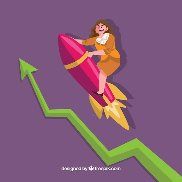Business woman on rocket Free Vector