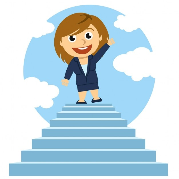 Business woman on steps