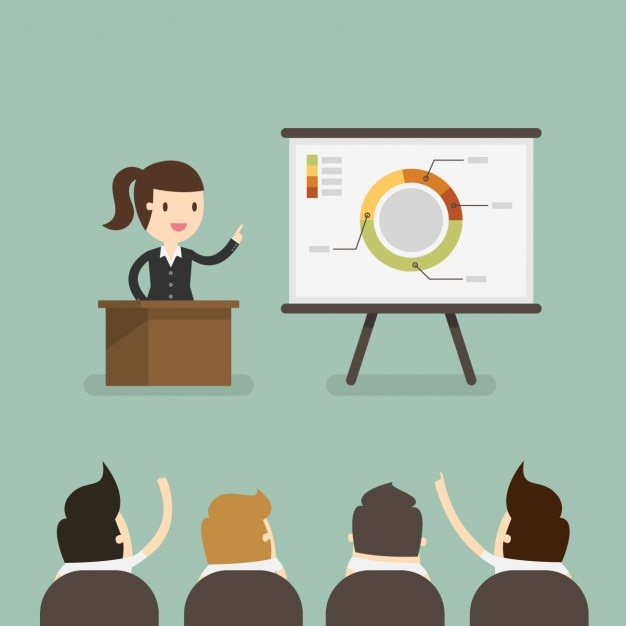 Business woman in a presentation Free Vector