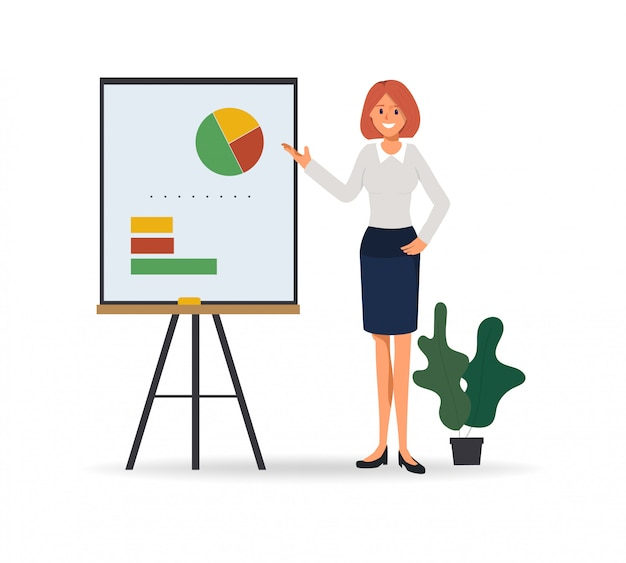 Business woman presenting to business chart on whiteboard Premium Vector