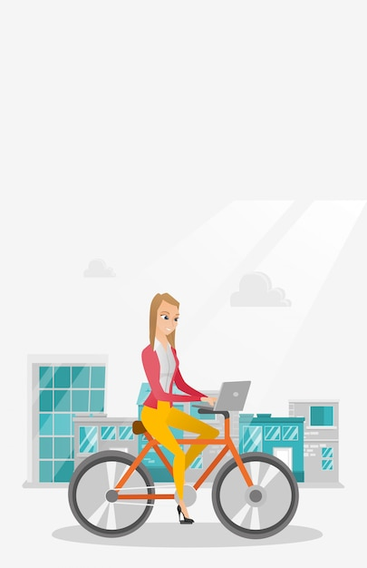 Business woman riding a bicycle with a laptop. Premium Vector