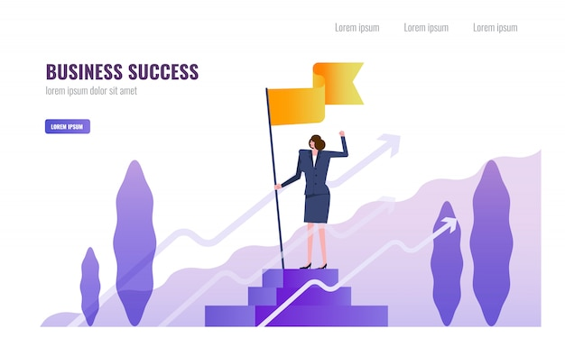 Business woman standing and holding flag on the podium. Premium Vector