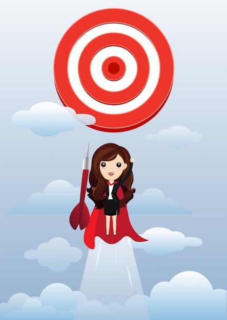 Business woman superhero flying and breaking target. Premium Vector