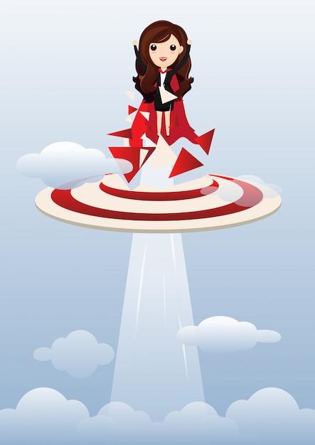 Business woman superhero flying. Premium Vector