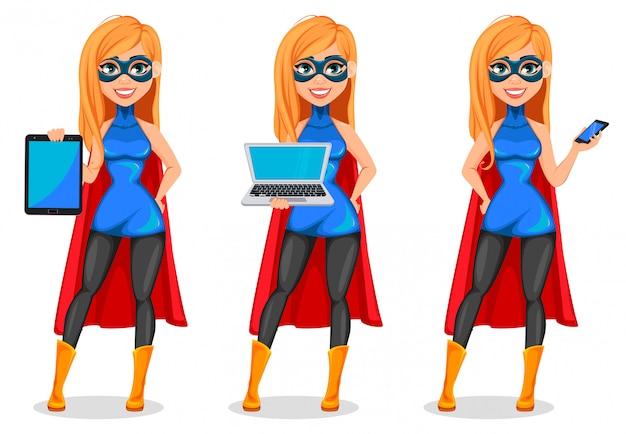 Business woman superhero, set of three poses Premium Vector