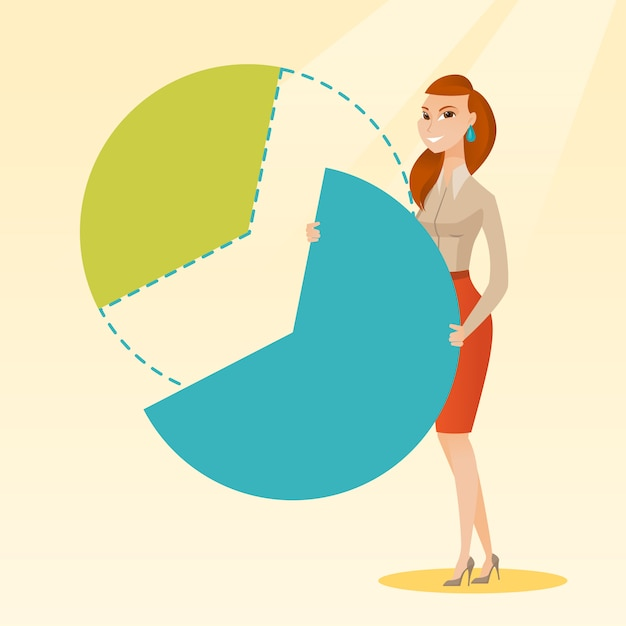 Business woman taking his share of the profits. Premium Vector