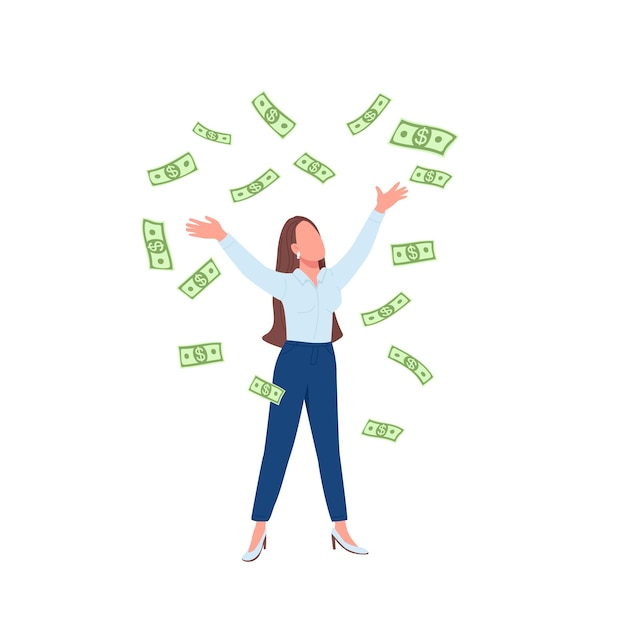 Business woman throwing cash up flat color faceless character. successful lady. financial achievement. female millionaire isolated cartoon illustration for web graphic design and animation Premium Vector