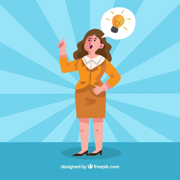 Business woman with an idea Free Vector