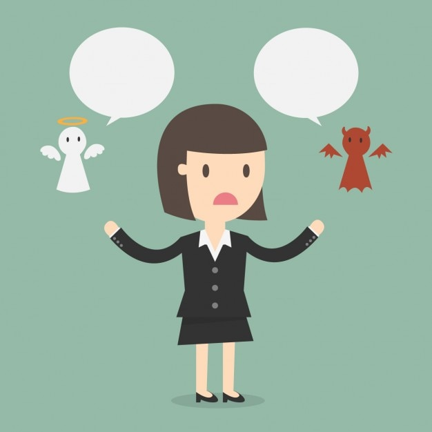 Business woman with an angel and a demon Free Vector
