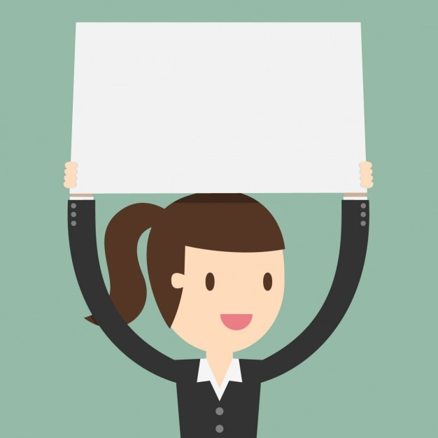 Business woman with a blank placard Free Vector