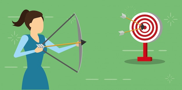 Business woman with bow arrow and target, flat style Free Vector