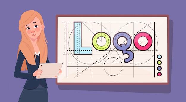 로고 단어 창조적 인 그래픽 디자인을 통해 디지털 태블릿 비즈니스 우먼 프리미엄 벡터