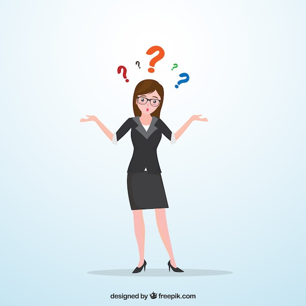 Business woman with doubts