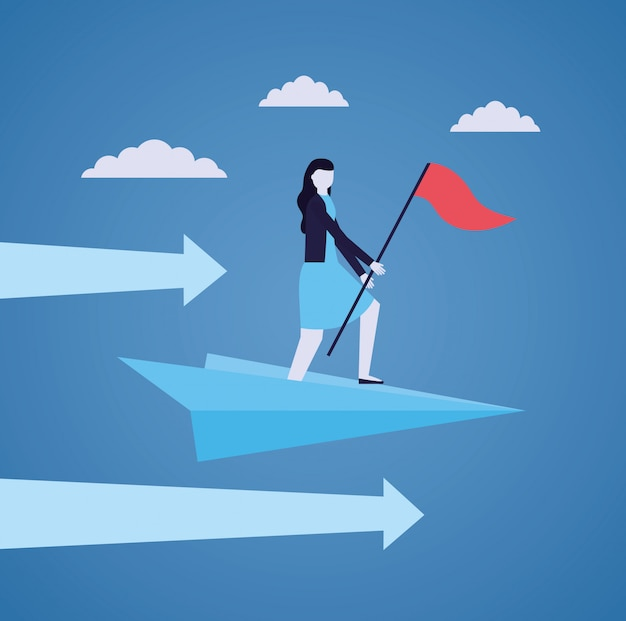 Business woman with flag on paper plane Free Vector